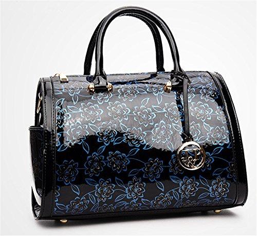 Bolsos de señora Xinmaoyuan Primavera y Verano Middle-Aged Madre Pu Bolso Bolso Charol bolsos,púrpura brillante Blue