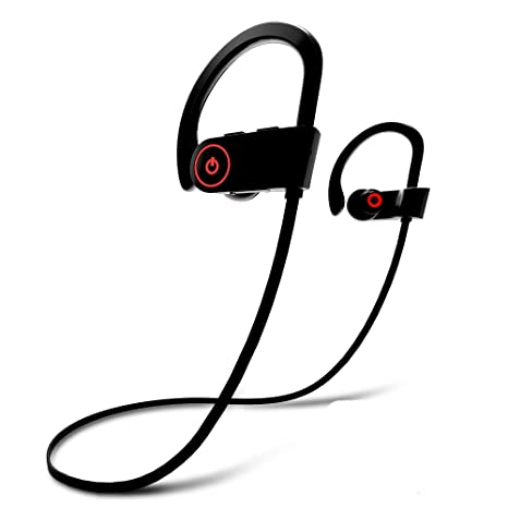 Review Bluetooth Headphones, Wireless Earbuds Microphone, Sports Earphones, IPX7 Waterproof Sweatproof Musical Headsets, Noise Cancelling HD Stereo Running Gym, up to 8 Hours Working Time