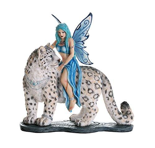 Pacific Giftware Decorative Companion Fairy Hima with Snow Leopard Collectible Decorative Statue 8H (Statues Leopard)