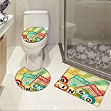 jwchijimwyc Vintage U-shaped Toilet Floor Rug set Bingo Game with Ball and Cards Pop Art Stylized Lottery Hobby Celebration Theme 3 Piece Bathroom Rug Set Multicolor