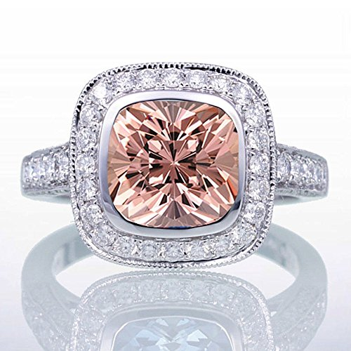 1.5 Carat Cushion Cut Morganite and Diamond Halo Vintage Engagement Ring for Women on 10k White Gold