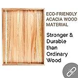 Acacia Wood Serving Tray with Handles Set of 2