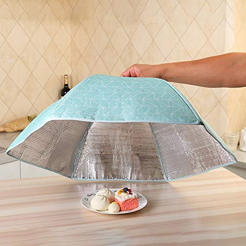 Large Foldable Insulated Waterproof Food Cover Tent with Aluminum Foil for Home, Outdoors, Parties Picnics, BBQs,Umbrella Screen Tent,Keep Out Flies, Bugs, Mosquitoes (Green)