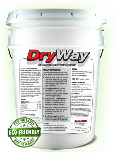 DryWay Water-Repellent Concrete Sealer (5-gal) | Protects Concrete Driveways | Pavers | Garage Floors | Patios | Outdoor Masonry (Sealers Patio)