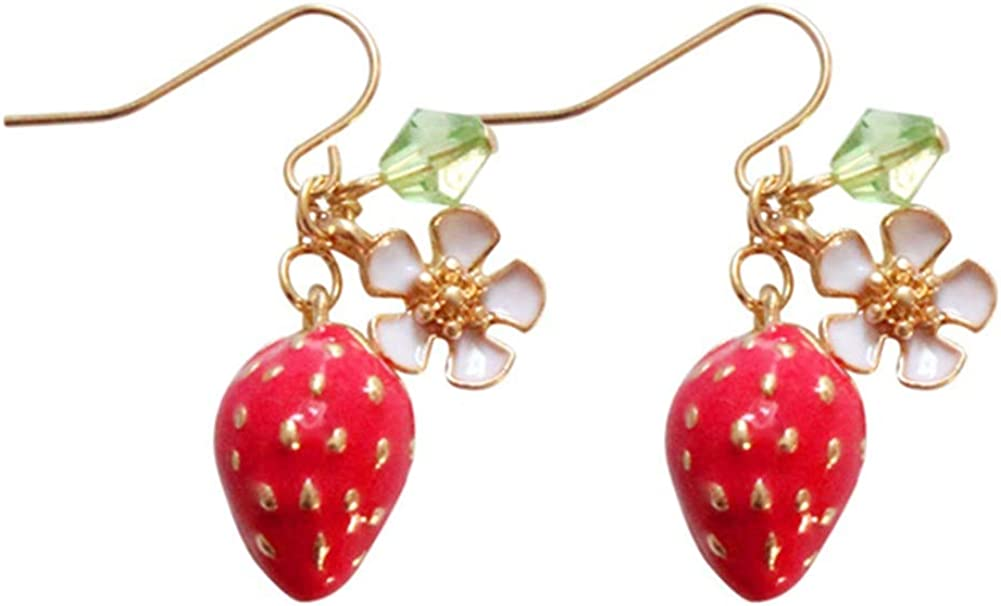 3D Cute Sweet Red Strawberry Charms Studs Golden blossoms White Cherry Blossom Flower 18K Gold Plated Dangle Earring