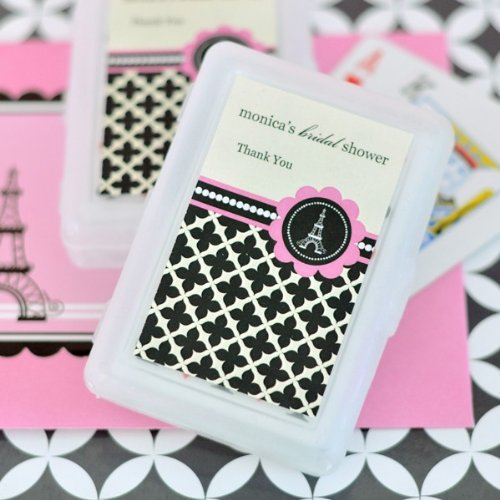 Personalized Playing Cards - Parisian Party - Total 100 items (Personalized Playing Favors Cards Wedding)
