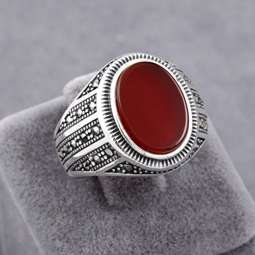 Handmade Red Agate (Akik / Aqeeq) Stone 925 Sterling Silver Elite Men's Ring Size 11 ()
