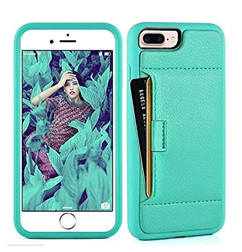 ZVE Case for Apple iPhone 8 Plus and iPhone 7 Plus, 5.5 inch, Slim Leather Wallet Case with Credit Card Holder Slot Pocket Protective Case Cover for Apple iPhone 7/8 Plus - Mint Green