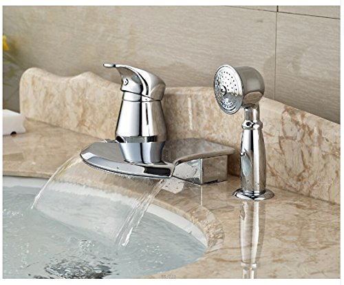 Gowe Brief Bathroom Basin Deck Mounted Sink Faucet Waterfall Mixer tap With Hand Shower Chrome Finished 2