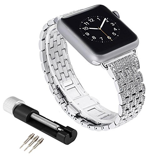 (Teepao Replacement Bands for Apple Watch Series 3 Series 2 and 1 Crystal Rhinestone Diamond Luxury Classic Strap with Link Pin Remover Repair Tool Kit for IWatch 42mm 38mm)