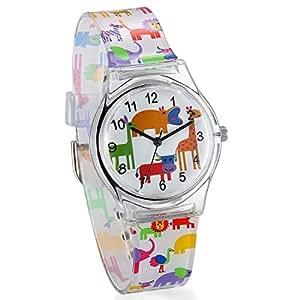 JewelryWe Kids Time Teacher - Fun Animal Dial Silicone Band Analog Japan Citizen Quartz Cartoon Watches