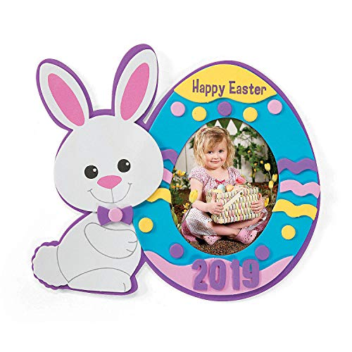 (Fun Express - Dated Foam Easter Picture Frame CK-12 for Easter - Craft Kits - Stationary Craft Kits - Frame - Easter - 12 Pieces )