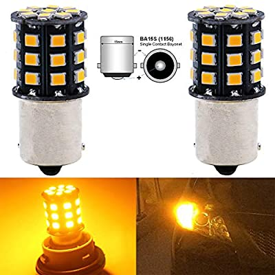 AMAZENAR 2-Pack 1156 BA15S 1141 1073 7506 1003 Car Turn Signal Lights Bulbs - 12V-24V Extremely Bright Amber/Yellow 2835 33 SMD LED Light Bulb - Replacement for Tail Blinker LED Bulb Light: Automotive