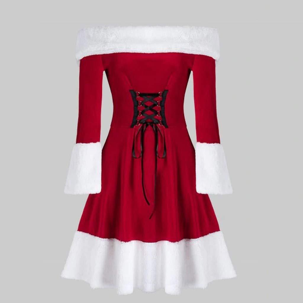 Robe De Velours Femme P/ère No/ël Robe Joyeux Noel Costume /Épaules d/énud/ées Robe A-Line P/ère No/ël de D/éguisement pour Adulte Femme Fille Sonojie