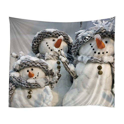 Xinhuaya Christmas Theme Tapestry, Funny Snowman Snow Holiday New Year Digital Printed Wall Hanging Wall Living Room/Bedroom/Dorm Decor, 51 W x 60 L-Inches (Snowman Wall Tapestry)