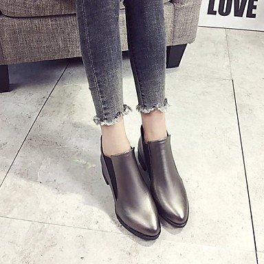 RTRY Zapatos De Mujer Invierno Pu Confort Botas De Tacón Plano Ronda Toe Botines/Botines De Casual Negro Champagne US8 / EU39 / UK6 / CN39