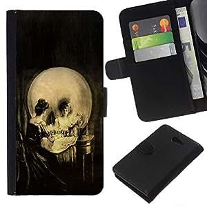 All Phone Most Case / Oferta Especial Cáscara Funda de cuero Monedero Cubierta de proteccion Caso / Wallet Case for Sony Xperia M2 // Vintage Skull Art