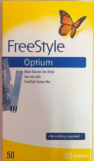 Freestyle Optium, un paquete con 50 tiras de prueba de glucosa en sangre: Amazon.es: Salud y cuidado personal