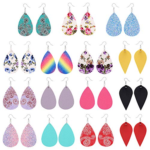 15 Pairs Petal Leather Earrings Antique Looking Faux Leather Teardrop Long Dangle Earrings Lightweight Leaf Red Yellow Pink Blue Handmade Floral Rainbow Print Drop Earrings Gift For Teens Girls Women