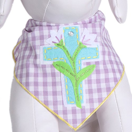 Tail Trends Easter Dog Bandanas with Cross & Lillies Design Fits Medium to Large Sized Dogs - 100% Cotton