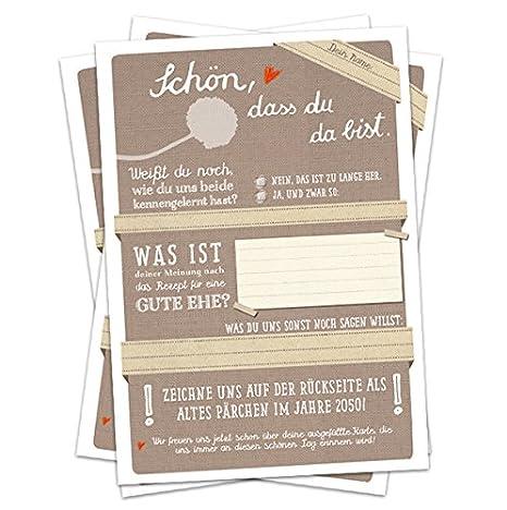Hochzeitsspiel für Gäste | 52 Postkarten - Schön, dass du da bist - Beige | Spiel mit witzigen Fragen & zum Zeichnen | Recycl