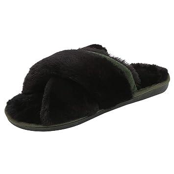 Zapatos Peludo slippers para mujer,Sonnena Zapatillas cómodas de las mujeres de la moda Calor plano inferior zapatos Inicio Zapatillas de piel de tobillo ...