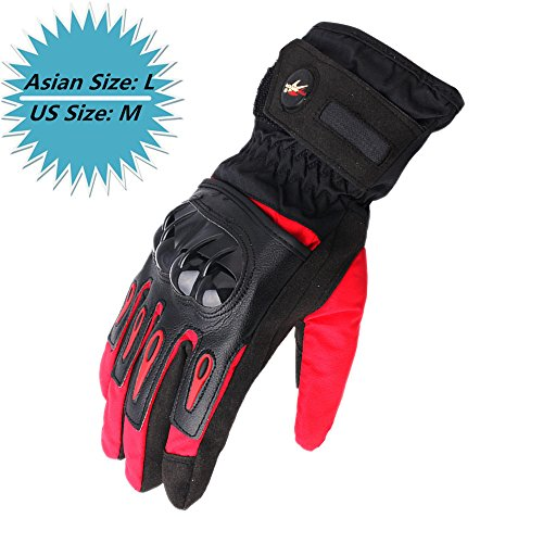 KEMIMOTO Winter Motorcycle Riding Gloves Warm Waterproof Windproof Touch Screen (Red, Large)