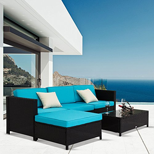 Kinbor 5 PCs Garden Furniture Outdoor PE Rattan Wicker Sofa Sectional Furniture Cushioned Deck Couch Set (Deck Furniture Sets)