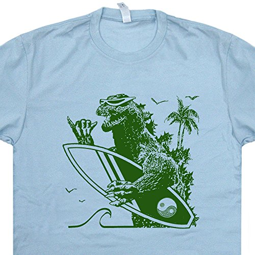 L - Godzilla Surfing T Shirt Cool Surfing Shirt Retro Surf Shirt Hawaii Australia California Poster Vintage 80s Surfboard Graphic Tees (Godzilla Size Chart)