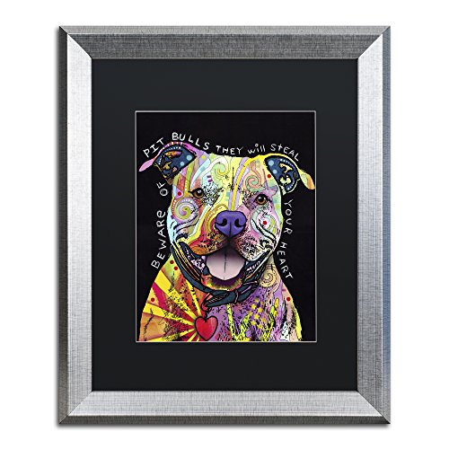 Beware of Pit Bulls by Dean Russo, Black Matte, Silver Frame 16x20-Inch