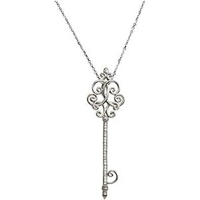 Amazon 1 8 ct tw diamond key pendant on 18 1 8 ct tw diamond key pendant on 18 quot mozeypictures Image collections