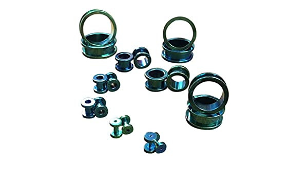 PAIR Titanium Ion Plated Double Flare Tunnels Plugs Earlets Gauges Body Jewelry