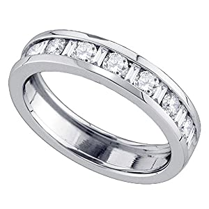 14k White Gold Womens Single Row Diamond Wedding Band Anniversary Ring Round & Baguette Channel Set 1 ctw Size 8