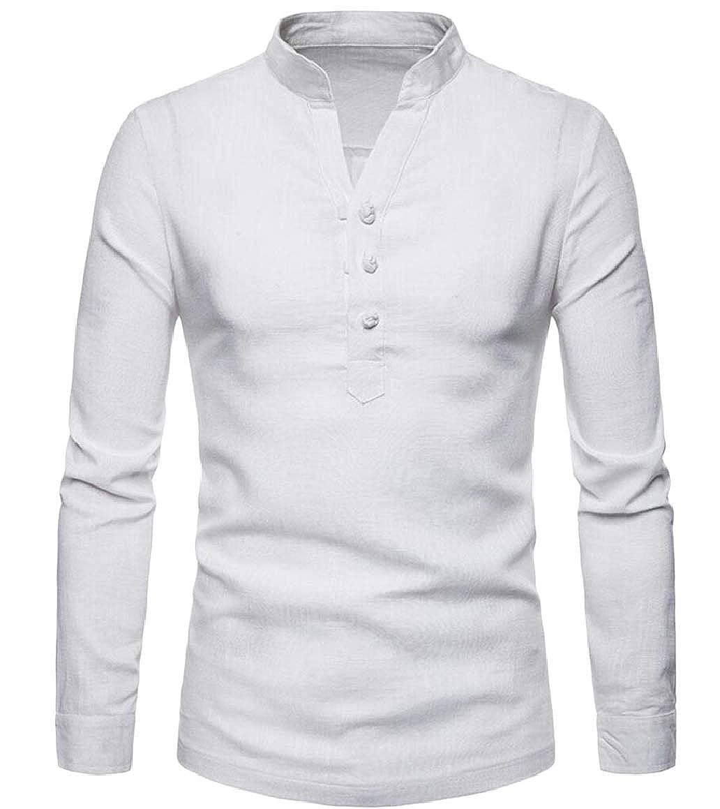 ouxiuli Mens Casual Basic Linen Henley Long Sleeve T Shirt Tops