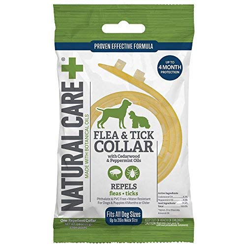 Natural Care Repellent Flea & Tick Collar for Dogs & Puppies, 4 Month Protection, White