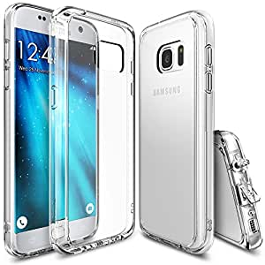 Galaxy S7 Case, Ringke [FUSION Series] Brilliant Clear Minimalist Hybrid Fortified PC Back TPU Bumper w/ Screen Protector [Impact Resistant/Shock Absorption] For Samsung Galaxy S7 - Clear