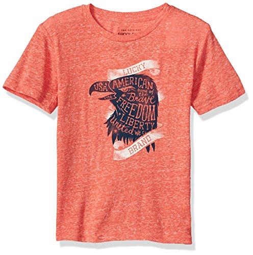 Lucky Brand Boys' Big Short Sleeve USA Eagle Tee Holly Red, Medium (10/12) by Lucky Brand
