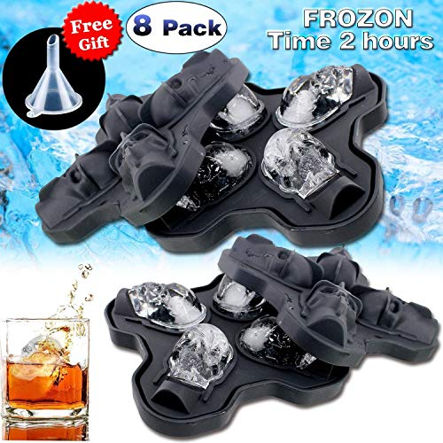 Ice Cube Trays - 8 Pcs Silicone Ice Pop Molds for Valentine Day Party Favors Large Skull Shaped Flexible Round Ice Ball Maker Food Molds for Party Drink Whiskey Wine Cocktail Chocolate Easy Release ()
