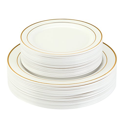 "Premium Disposable Plastic Plates 50 Pack (25 x 10.5"" Dinner + 25 x 7.5"" Salad/Desert) Ivory with Gold Rim by Finest Cutlery for Weddings, Parties, and Special Occasions."