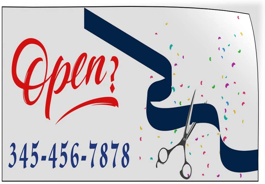 Custom Door Decals Vinyl Stickers Multiple Sizes Open Phone Number Ribbon Cutting Business Open Outdoor Luggage /& Bumper Stickers for Cars Red 42X28Inches Set of 5
