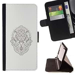 BullDog Case - FOR/Samsung Galaxy Note 3 III / - / NATIVE AMERICAN VIKING PATTERN WOLF /- Monedero de cuero de la PU Llevar cubierta de la caja con el ID Credit Card Slots Flip funda de cuer