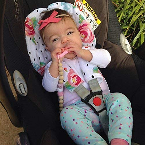 Car Seat Head Support Floral Black And White Infant Strap