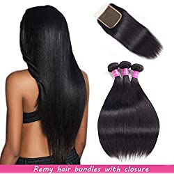 Malaysian Hair 3 Bundles With Closure Straight Remy Hair With Closure Human Hair Extensions Natural Black Double weft by Lovenea (10-12-14&8)