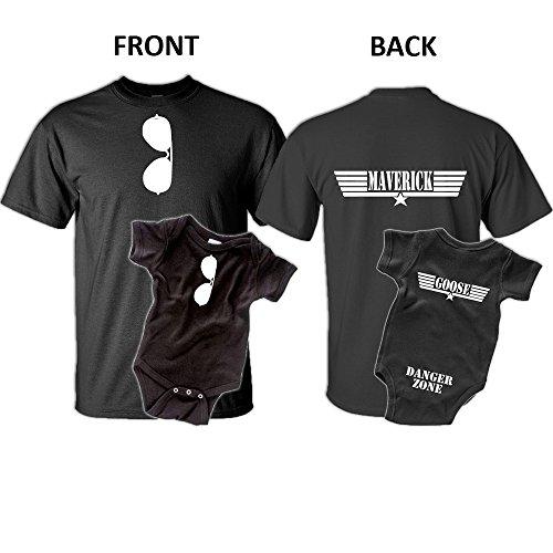 Maverick Goose, Father Son T-Shirt Set (Adult 3X-Large/Newborn Bodysuit, Sport Gray) ()