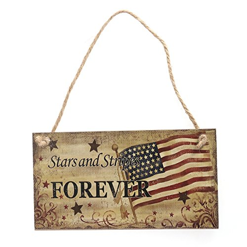 Ornament Indoor (Tinksky Fourth of July Party Stars and Stripes FOREVER Hanging Sign Decoration Fiberboard for Independence Day Party Decorations)