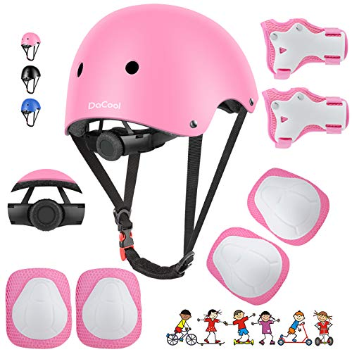 DaCool Kids Bike Helmet Set Skateboard Knee Pads - Kids Helmet Elbow Pads Wrist Guards Adjustable for 3~8yrs Girl Boy Kids Protective Gear Set for Sport Cycling Bike Roller Skating Scooter Rollerblade