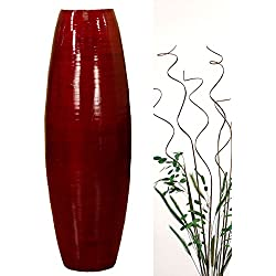 """GreenFloralCrafts 27"""" Bamboo Cylinder Floor Vase with Branches & botanicals Kit - Mahogany Red"""