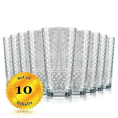 Highball Drinking Glasses - Clear Glass Elegant Honeycomb Design, 17 Oz. (BPA Free and Dishwasher Safe)