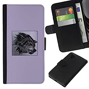 [Neutron-Star] Modelo colorido cuero de la carpeta del tirón del caso cubierta piel Holster Funda protecció Para LG Nexus 5 D820 D821 [Purple Fang Wolf Black Poster Dog Anger]