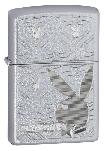 Zippo Playboy Bunny Hearts Satin Chrome Lighter